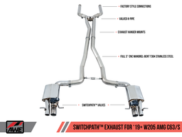 AWE SwitchPath��� Exhaust System for 2019+ Mercedes-Benz W205 AMG C63/S Sedan with Non-Dynamic Performance Exhaust cars (no tips) (3025-11004)