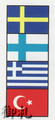 Flags of the World Interchangable Compact Mirror - Sweden/Finland/Greece/Turkey