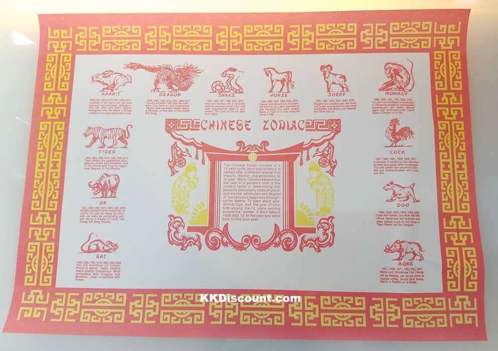 chinese astrology zodiac paper placemat pack