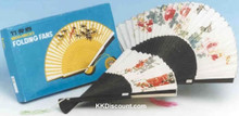 Folding Paper Hand Fan with Black Handle