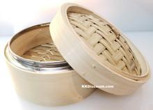 6.5 inch Stainless Steel Rim Bamboo Steamer