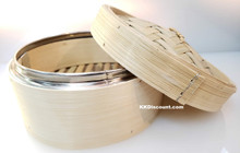 8 inch Stainless Steel Rim Bamboo Steamer