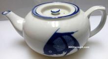 Blue Carp Fish Flat Tea Pot