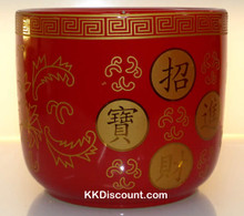 Large Red Round Incense Holder Pot