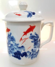 Red Goldfish Mug with Lid