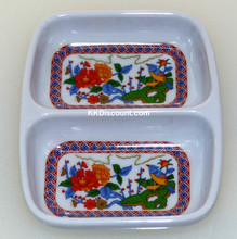 Nature Melamine Plastic 2 oz Rectangular Twin Sauce Dish