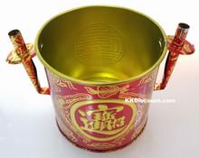 Large Red Tin Joss Incense Pot