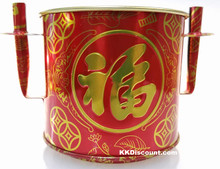 Medium Red Tin Joss Incense Pot