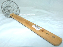 4 Inch Stainless Steel Basket Spider Skimmer with Bamboo Handle