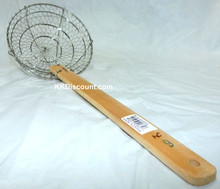 6 Inch Stainless Steel Basket Spider Skimmer with Bamboo Handle