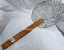 14 Inch Galvanized Steel Mesh Spider Skimmer with Bamboo Handle