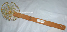 4 Inch Brass Mesh Spider Skimmer with Bamboo Handle