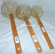 Different sizes Brass Mesh Spider Skimmer with Bamboo Handle sold on KKDiscount.com