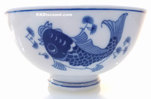 Modern Blue Koi Fish 5 Inch Rice Bowl