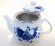Small Modern Blue Koi Fish Teapot