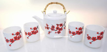 Red Plum Flower Teapot Tea Set