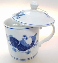 Modern Blue Koi Fish Mug with Lid
