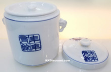 Modern Blue Koi Fish Small Porcelain Jar