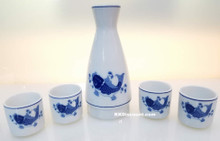 Modern Blue Koi Fish Sake Set