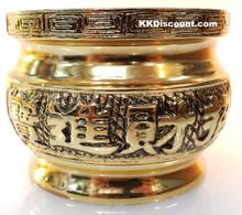 Large Brass Color Metal Joss Incense Holder Pot