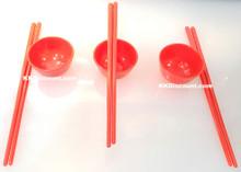 3 Mini Red Plastic Fortune Chopsticks Cups Set