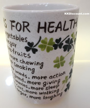 Lucky Four Leaf Clover Ten Ways to Good Health Cup