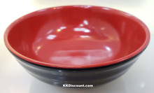 Two Tone Red Black Melamine 8 Inch Round Wave Bowl