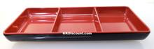 Two Tone Red Black Melamine Small 3 Compartment Dish