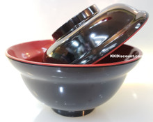Two Tone Red Black Melamine 16oz Miso Soup Bowl with Lid