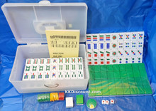 Green Mahjong Tiles Game Set with Numbers and English Instruction