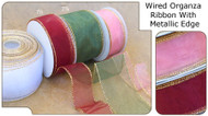 1.5 inch Wired Organza Ribbon with Metallic Edge - 10 yds