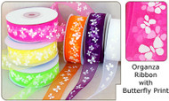 7/8 inch Organza Ribbon with Butterfly Print - 25 yds