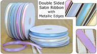 1/8 inch Double Sided Satin Ribbon with Metallic Edge - 50 yds