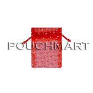 3 x 4 Red w/ White Dots Tulle Bag