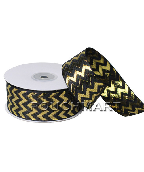 1.5 inch metallic chevron ribbon