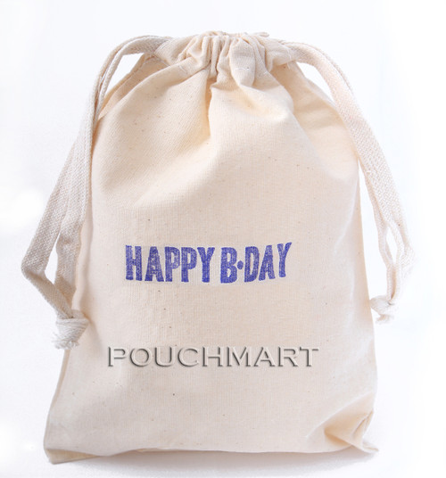 Happy BDay Print Canvas Bag