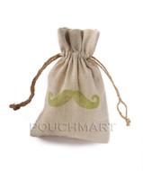 Large Mustache Print Linen Bag