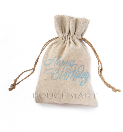 Happy Birthday Print Linen Bag