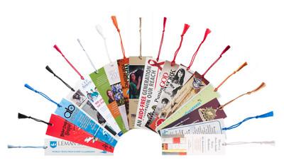 "PBM38CT 3.5"" x 8.5"" Premium 16pt Custom Bookmarks with Chainette Tassels"