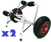2 x Jon Boat Kayak Canoe Carrier Dolly Trailer Tote Trolley Transport Cart Wheel