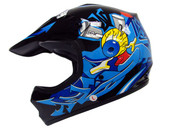 Youth Kids ATV Motocross Dirt Bike Black/Blue Punk MX Helmet~S M L