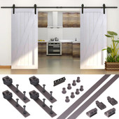 10FT Country Antique Dark Coffee Steel Sliding Barn Wood Door Hardware Track Set