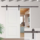 "6.6FT Dark Coffee Sliding Barn Door Hardware Set w/30"" Wide White Wood Door Slab"