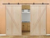 """12FT Dark Coffee Wood Sliding Door Hardware Set w/2x42"""" Wide Barn Wood Door Slab"""