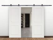 "12FT Black Sliding Door Hardware Set w/2x30"" Wide White Primed MDF Door Planks"