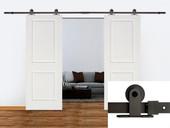 """12FT Dark Coffee Barn Sliding Door Hardware Set w/ 2 x 30"""" Wide White Door Plank"""