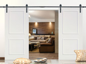 "12FT Black Steel Barn Sliding Door Hardware Set w/ 2x36"" Wide White Door Slabs"