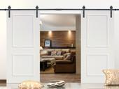 """12FT Black Steel Barn Sliding Door Hardware Set w/ 2x36"""" Wide White Door Slabs"""