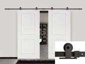 """12FT Dark Coffee Barn Sliding Door Hardware Set w/ 2 x 36"""" Wide White Door Plank"""