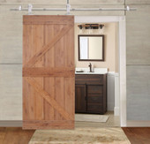 "36""x84"" Natural Primed Knotty Alder Sliding Wood Solid Core Barn Interior Door"
